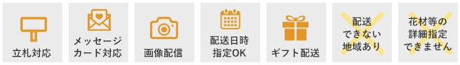 立て札対応・メッセージカード対応・画像配信・配送日時指定OK・ギフト配送・配送できない地域あり・花材等の詳細指定できません
